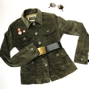 Nori Forest Green Velvet Corduroy Cargo Jacket S